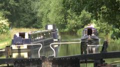 Narrow boat Fobney lock 1 Stock Footage