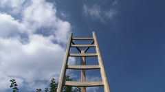 Orchard ladder against blue sky - low angle + pan fruit tree Stock Footage