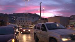 Kusadasi traffic, colorful sunset, magic hour Stock Footage