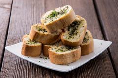 Garlic bread appetizer Stock Photos