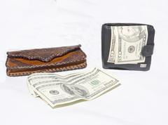 two purse for convenient use and hranneniya money - stock photo