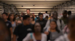 Commuters Walking through Subway Tunnel - People New Yorkers Slow Motion NYC Stock Footage