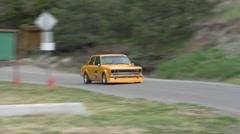 Motorsports, hill-climb, orange Datsun 510 Stock Footage