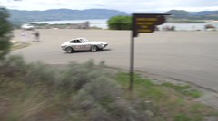 Motorsports, hill-climb, silver Datsun 240z V8 power, Stock Footage