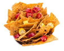 Stock Photo of portion of nachos isoalted on white