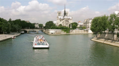 Paris Notre Dame and River Seine Stock Footage