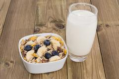 mixed muesli with nuts and fruits - stock photo