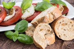 Tomato and mozzarella slices Stock Photos