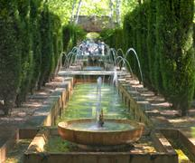 Fountain in the gardens of hort del rei Stock Photos