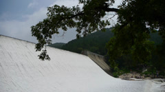 Torrential waterfall & spray from dam,Mountain Tai-shan. Stock Footage