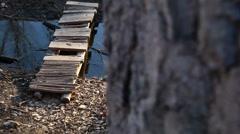 Foot bridge dolly shot Stock Footage