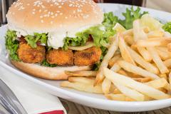 Fish burger with chips on a plate Stock Photos
