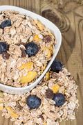 mixed muesli with blueberries - stock photo