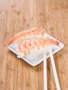 nigiri with prawns - stock photo