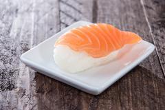 nigiri sushi with salmon - stock photo