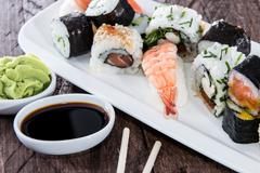 Different types of sushi on a plate Stock Photos