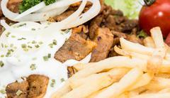 portion of kebab meat (macro shot) - stock photo