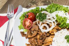 Stock Photo of plate with kebab and rice