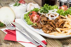 Stock Photo of portion of kebab meat on a plate