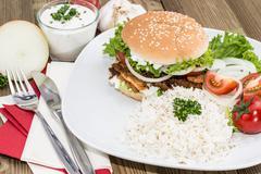 Stock Photo of kebab burger with rice