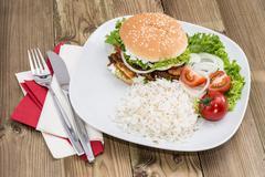 Kebab burger with rice Stock Photos
