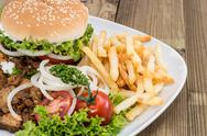 Stock Photo of kebab burger with meat and chips