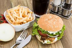 kekab burger with chips in a bowl - stock photo