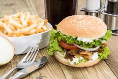 fresh kebab burger on wood - stock photo