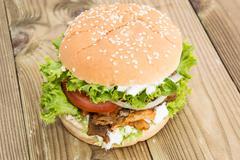 homemade kebab burger - stock photo