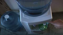 5 Gallon Water Cooler Filling Glass Of Clear Clean Drinking Water w-Audio Stock Footage