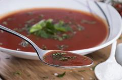 fresh made tomato soup - stock photo