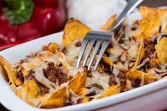 Stock Photo of nacho gratin with chili con carne