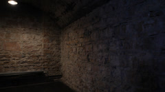 OLD PRISON CELL - BRICK WALLS Stock Footage