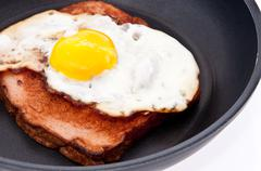 Meat loaf and fried egg in a skillet Stock Photos
