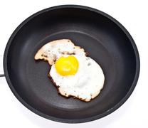 fried egg in a skillet - stock photo