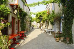 Turkey, Cesme, Alacati, traditional alley in village Stock Photos