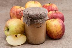 fresh made applesauce with apples - stock photo