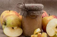Stock Photo of fresh made applesauce with apples