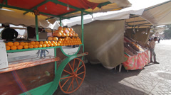 MARKET STANDS IN MARRAKECH Stock Footage