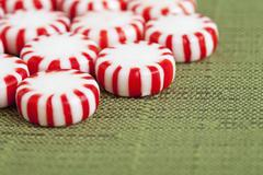 Stock Photo of Red and white candies, studio shot