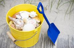 Stock Photo of Beach shovel and pail of shells