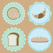 set of homemade bakery icon color badges - stock illustration