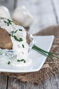 homemade baked potato - stock photo