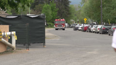 Firetruck, snap zoom out follow, lots of sirens Stock Footage