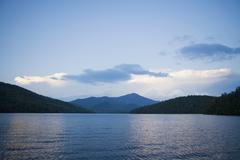 Lake Placid with Whiteface Mountain in background Stock Photos