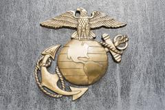 USA, Virginia, close up of US Marines insignia - stock photo