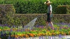 Gardener watering in Hofgarten park Royal Palace garden Germany Munich Stock Footage