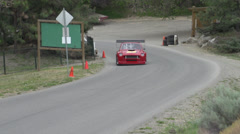 Motorsports, hill-climb, red V8 MGB-GT Stock Footage