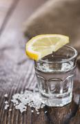 tequila silver with lemon and salt - stock photo