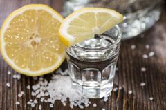 Stock Photo of tequila silver with lemon